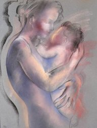 """Pastel Paintings """"Mother & Child"""""""